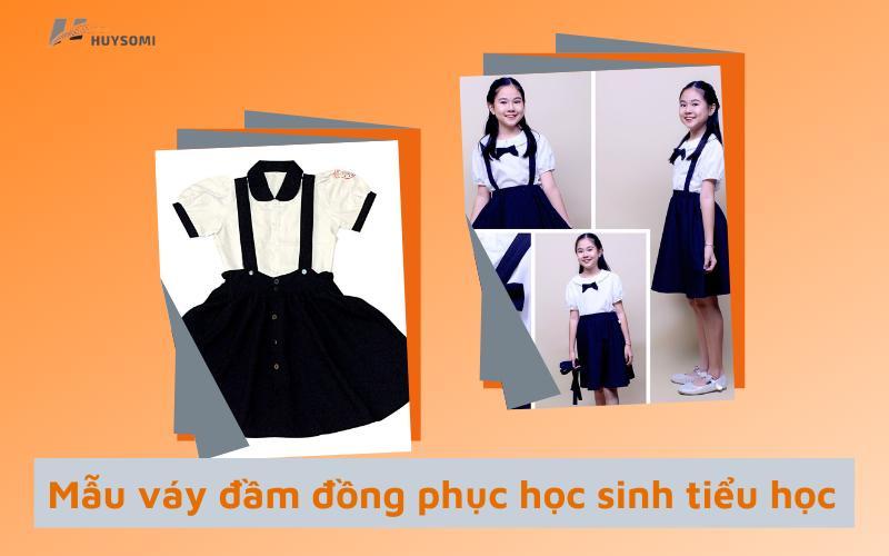 Váy đầm đồng phục học sinh tiểu học đơn giản